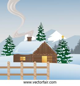 beautiful house and pines trees with fence winter landscape scene