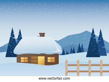 beautiful house and fence winter landscape scene