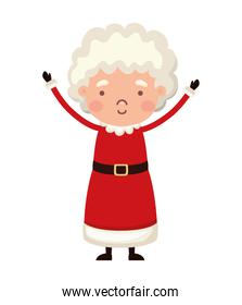 mrs santa claus with a red suit on a white background