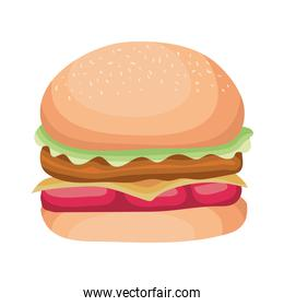 burger with cheese on white background