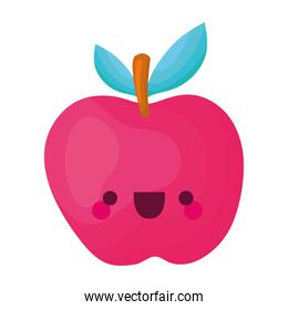 kawaii apple of a red color with stem