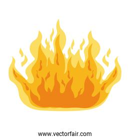 fire of orange and yellow color with a white background