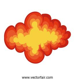 fire cloud of orange color on white background
