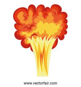 fire cloud of orange, red and yellow color on white background