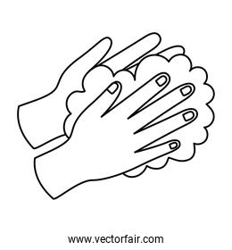 hands and foam line style icon