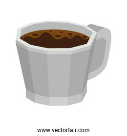 cup of dark coffee on white background