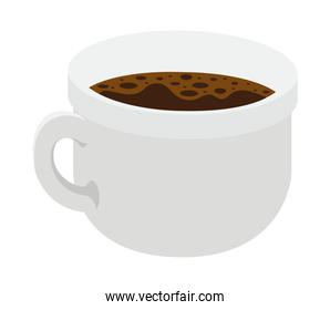 cup of dark coffee over white background