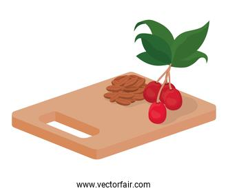 cutting board with coffee beans