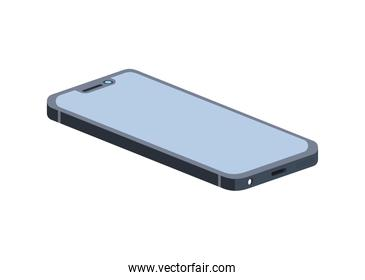 smartphone with blue screen on white background