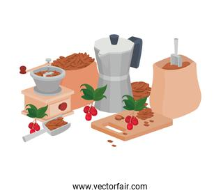 sets of items for cooking and drinking coffee on white background