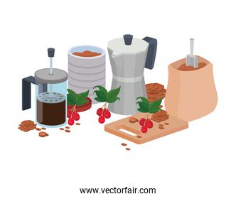 sets of items for cooking and drinking coffee over white background