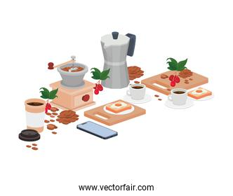 bundle of items for cooking and drinking coffee