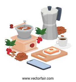 bundle of items for cooking and drinking coffee on white background