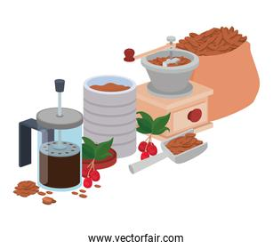 sets of items for cooking coffee
