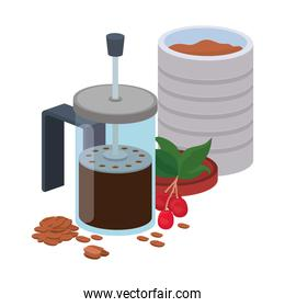 bundle of items for cooking coffee in a white background