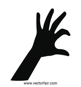 silhouette of one hand on white background