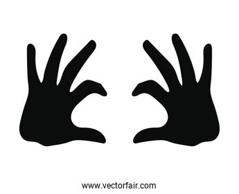 silhouette of two hands on white background