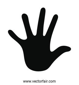 black silhouette with one hand and five fingers