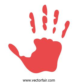 red silhouette with one hand and five fingers