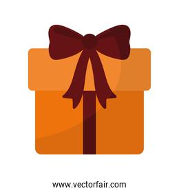 gift box of a orange color with a bow