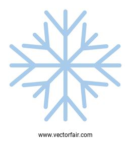 snowflake of blue color on white background