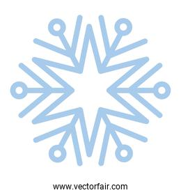 snowflake of blue color over white background