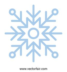 snowflake of color light blue over white background