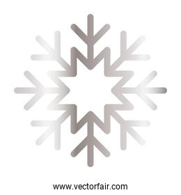 snowflake of color gray over white background