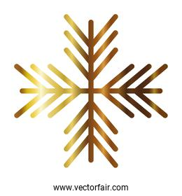 snowflake of color light gold on white background