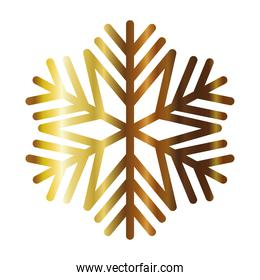 snowflake of color light gold over white background