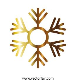 snowflake of color light gold in white background