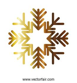 snowflake of color light gold with white background
