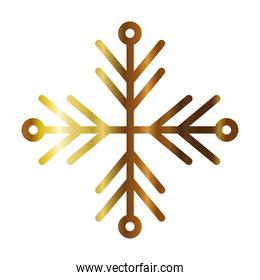 snowflake of color gold on white background