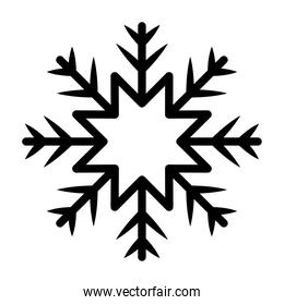 snowflake of black color over white background