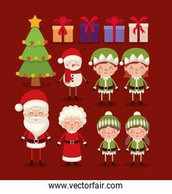 set of christmas characters on red background