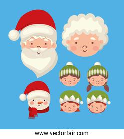 bundle of christmas characters on blue background