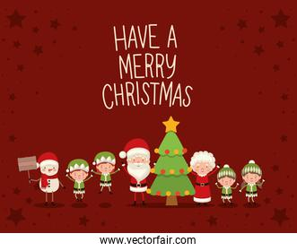 set of christmas characters and have a merry christmas lettering on red background