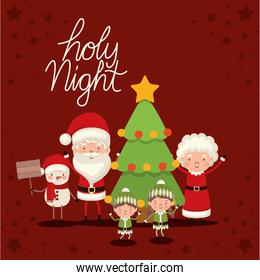 set of christmas characters and holy night lettering on red background