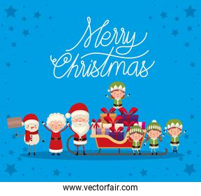 set of christmas characters on blue background