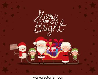 set of christmas characters and merry and bright lettering on red background
