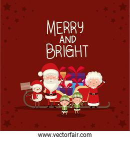 bundle of christmas characters and merry and bright lettering on red background