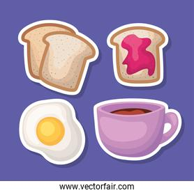 set of breakfast food on a purple background