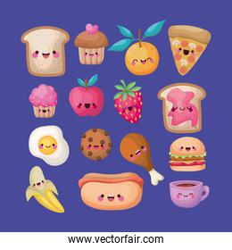 sets of all kinds kawaii foods icons on a blue background