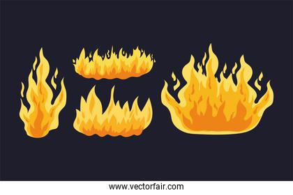 set of fires of orange and yellow color