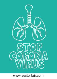 stop corona virus lettering and lung with trachea on green background