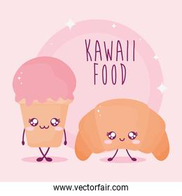 kawaii food lettering with ice cream and croissant