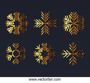 set of snowflakes of color light gold