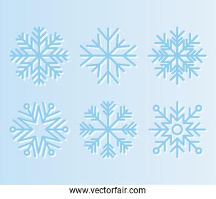 set of snowflakes of light blue color