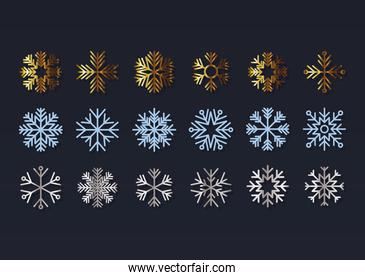 set of snowflakes on black background
