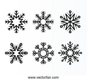 set of snowflakes of black color